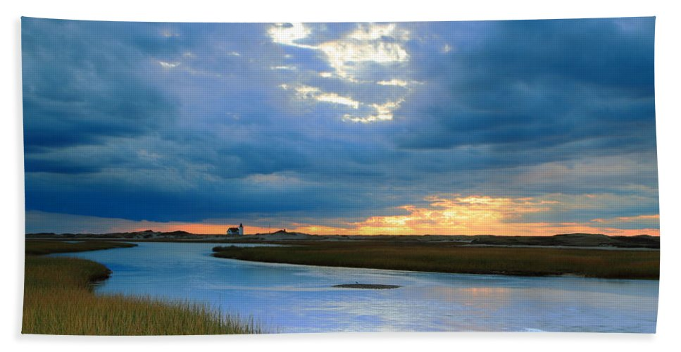 Provincetown Hand Towel featuring the photograph Evening Sky Over Hatches Harbor, Provincetown by Roupen Baker
