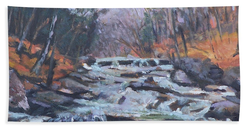 Vt Hand Towel featuring the painting Evening Spillway by Alicia Drakiotes