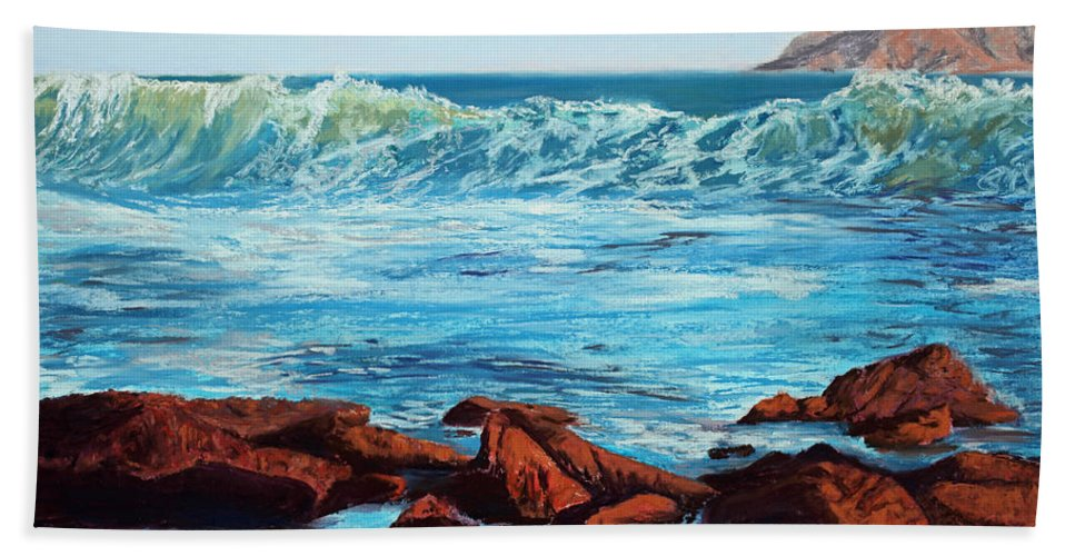 Ocean Hand Towel featuring the painting Evening Waves by Mary Benke