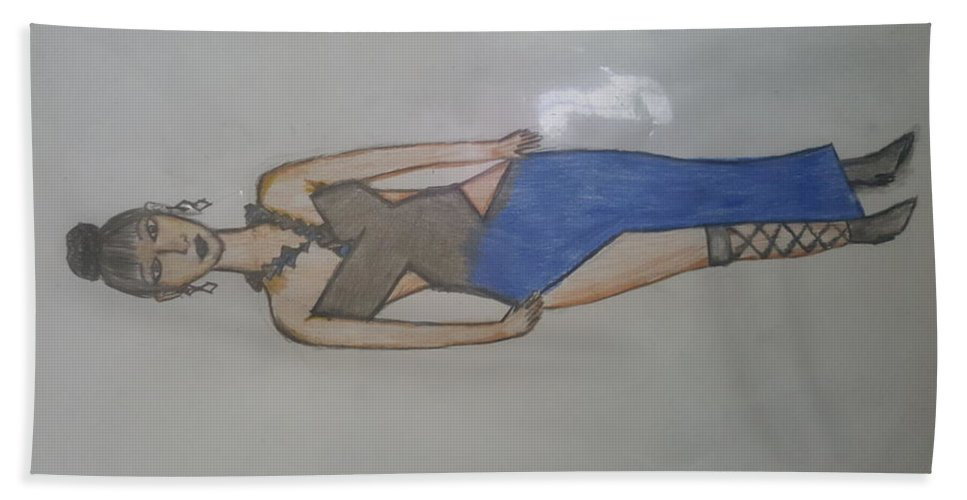 Portrait Bath Sheet featuring the drawing Evening Wear Fashion Sketch by Iethiopia Myers