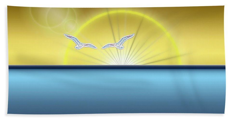 Sunset Bath Sheet featuring the digital art Eventide by Tim Allen