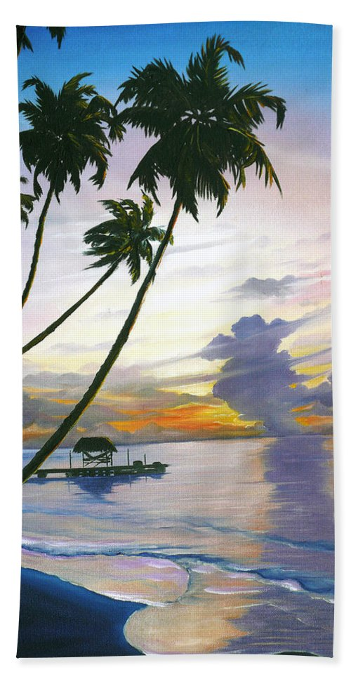 Ocean Painting Seascape Painting Beach Painting Sunset Painting Tropical Painting Tropical Painting Palm Tree Painting Tobago Painting Caribbean Painting Original Oil Of The Sun Setting Over Pigeon Point Tobago Bath Towel featuring the painting Eventide Tobago by Karin Dawn Kelshall- Best