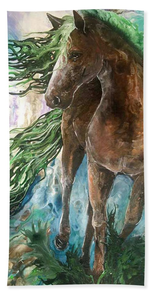 Horse Hand Towel featuring the painting Ever Green Earth Horse by Sherry Shipley