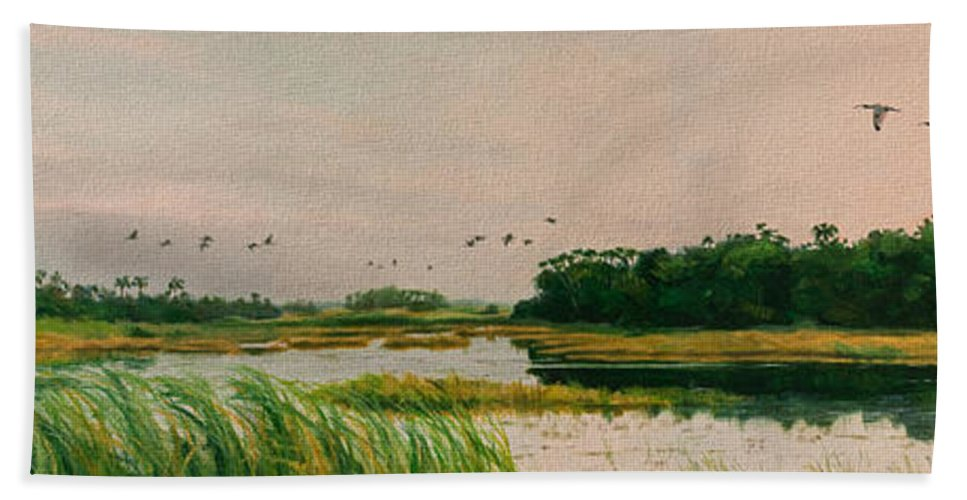 Landscape Bath Towel featuring the painting Everglades Dawn by Carol McArdle