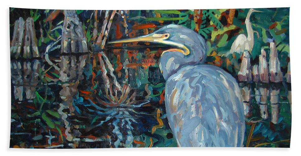 Blue Herron Hand Towel featuring the painting Everglades by Donald Maier