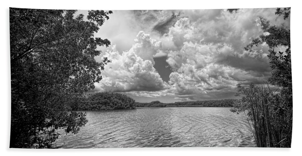 Everglades Hand Towel featuring the photograph Everglades Lake - 0278abw by Rudy Umans