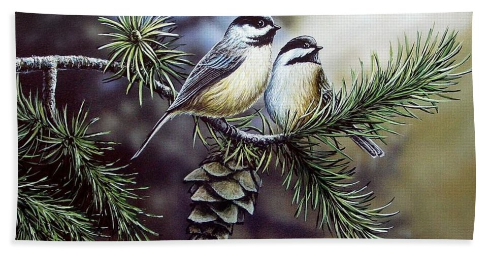 Chickadees Hand Towel featuring the painting Evergreen Chickadees by Anthony J Padgett