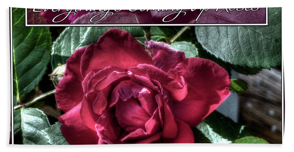 Red Rose Bath Sheet featuring the photograph Everything's Coming Up Roses by Leslie Montgomery