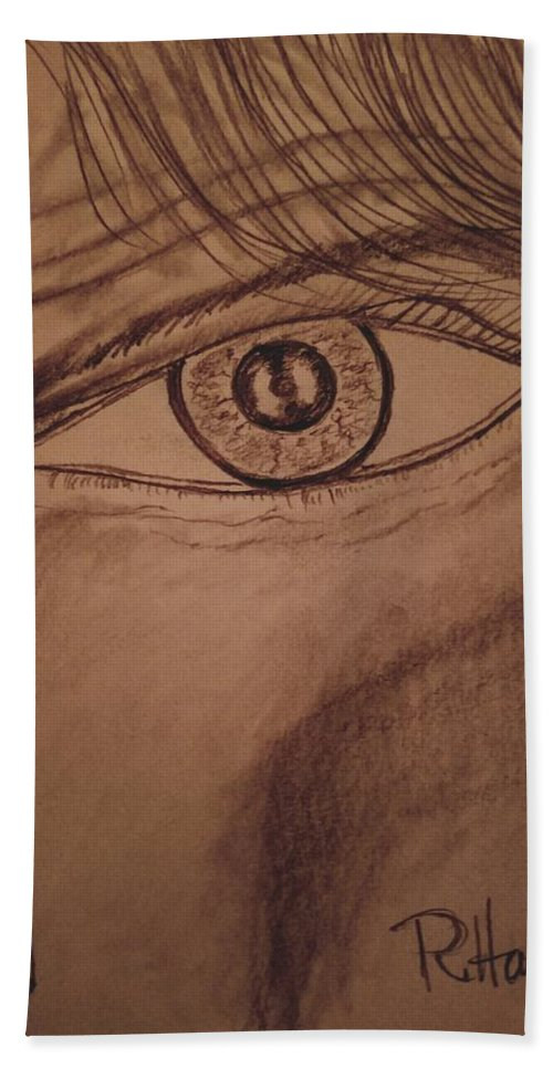 Eye Hand Towel featuring the drawing Evil Eye by Richard Howell