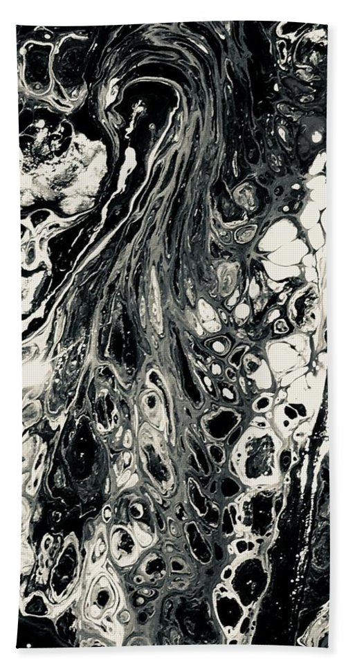 Acrylic Bath Sheet featuring the mixed media Evil In Black And White by B R Wiatrek