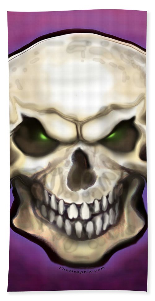 Skull Bath Sheet featuring the painting Evil Skull by Kevin Middleton