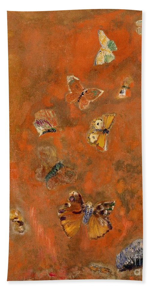 Evocation Hand Towel featuring the painting Evocation of Butterflies by Odilon Redon