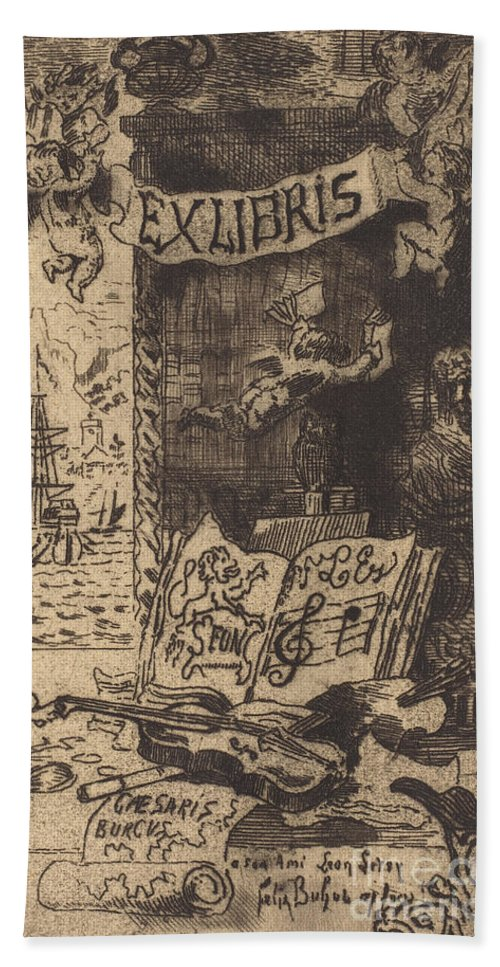 Hand Towel featuring the drawing Ex-libris De L?on Lerey (ex-libris Of Leon Lerey) by F?lix-hilaire Buhot