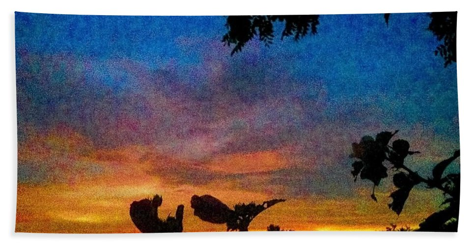 Sunset Hand Towel featuring the photograph Exagerated Sunset Painting by Debra Lynch