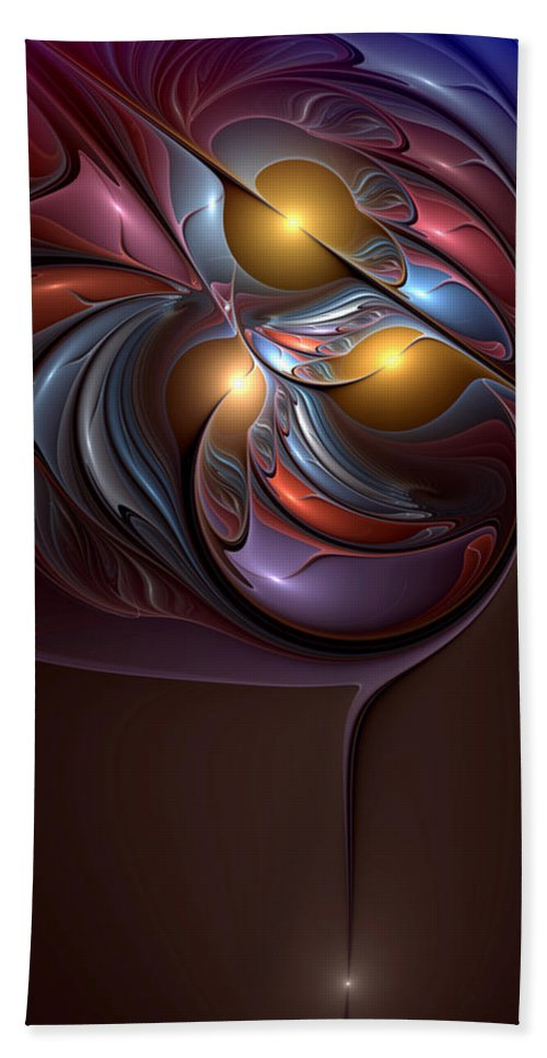 Abstract Bath Sheet featuring the digital art Existential Sonata by Casey Kotas
