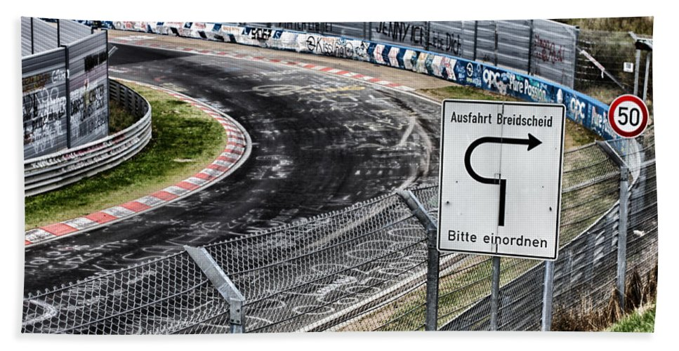 Nurburgring Hand Towel featuring the photograph Exit Breidscheid by Lauri Novak