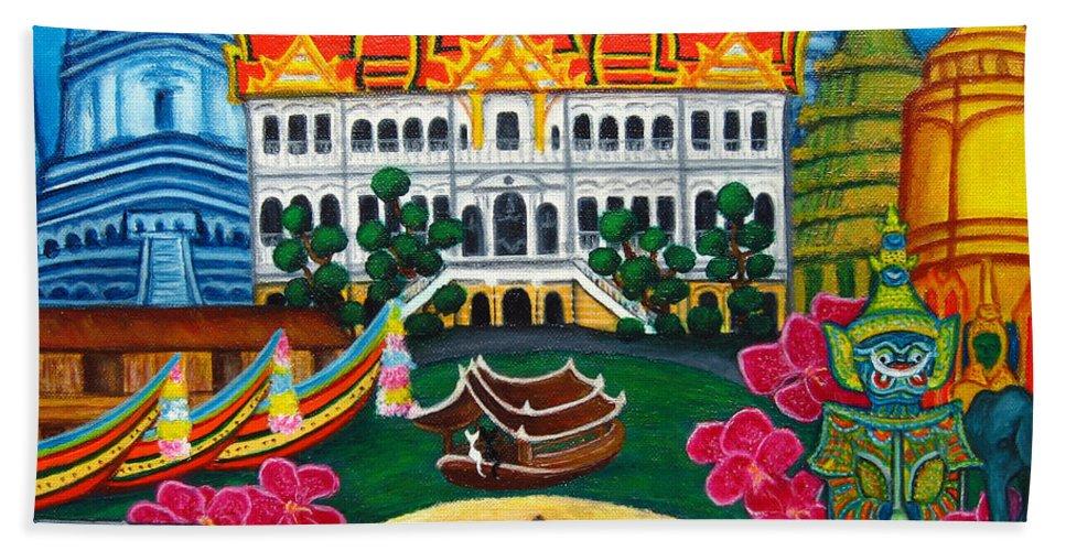 Bangkok Hand Towel featuring the painting Exotic Bangkok by Lisa Lorenz