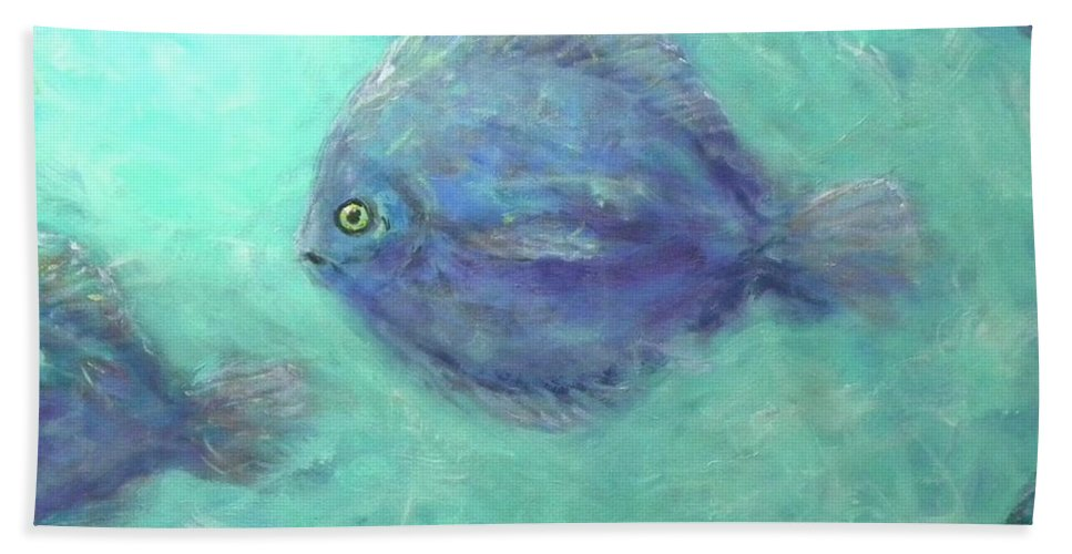 Fish Hand Towel featuring the painting Exotic Fish by Paul Emig