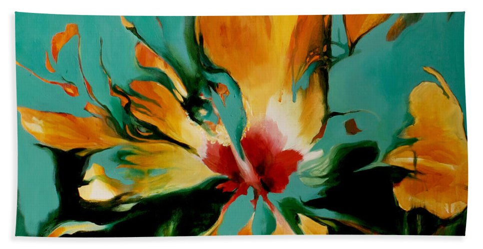 Lin Petershagen Bath Sheet featuring the painting Exotic by Lin Petershagen
