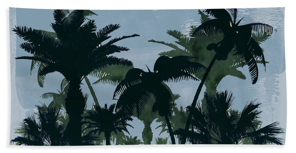 Water Color Hand Towel featuring the painting Exotic Palm Trees Silhouettes Water Color by Elaine Plesser