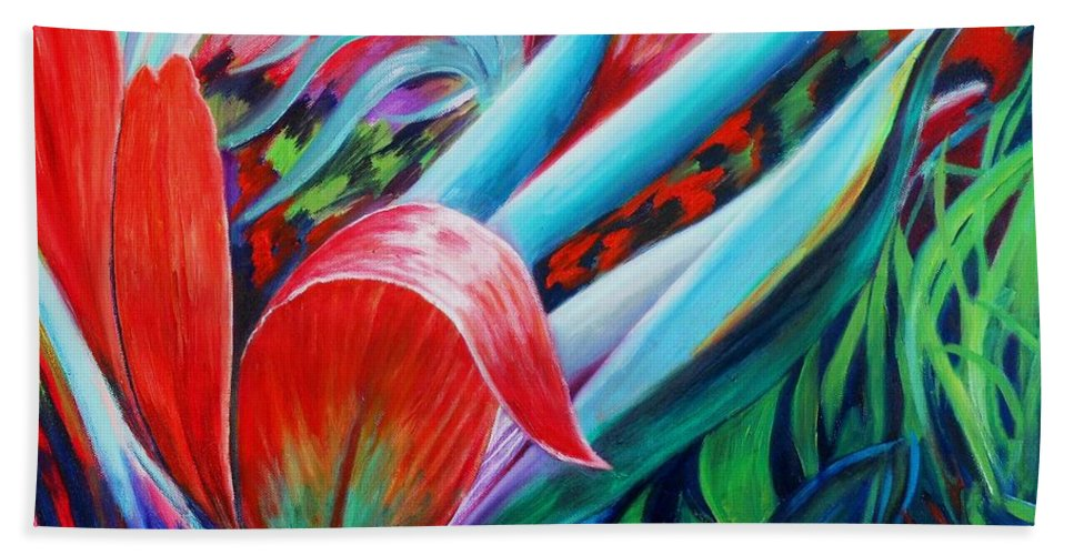Cordyline Shrub Hand Towel featuring the painting Exotica by Caroline Street