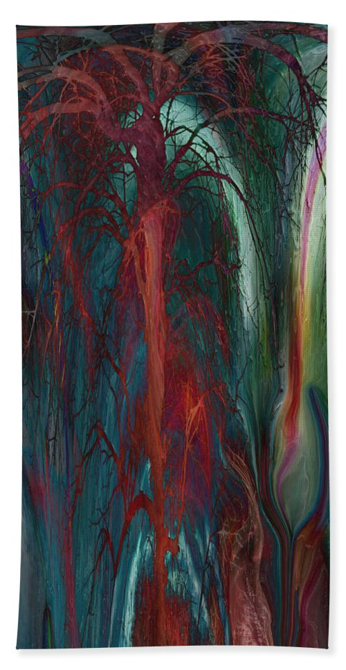 Abstracts Hand Towel featuring the digital art Experimental Tree by Linda Sannuti