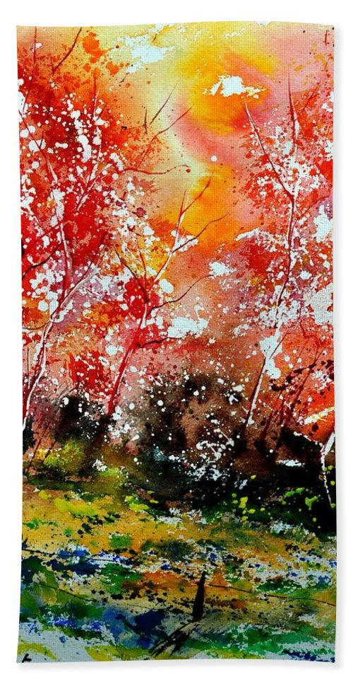 Nature Bath Sheet featuring the painting Exploding Nature by Pol Ledent