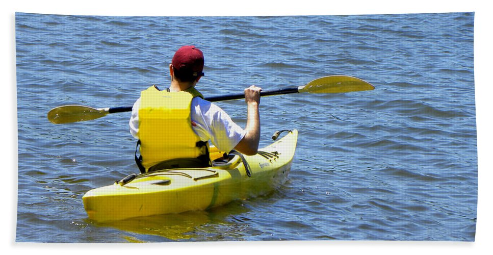 Kayak Hand Towel featuring the photograph Exploring In A Kayak by Sandi OReilly