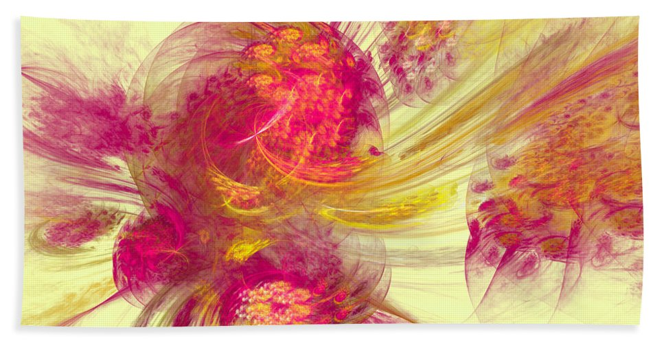 Pink Hand Towel featuring the digital art Explosion Of Color by Deborah Benoit