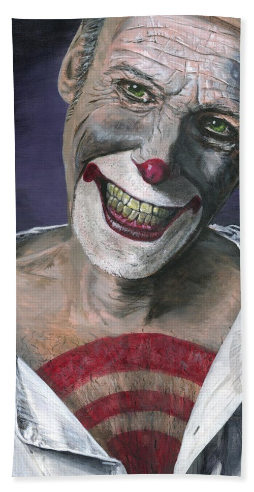 Clown Hand Towel featuring the painting Exposed by Matthew Mezo