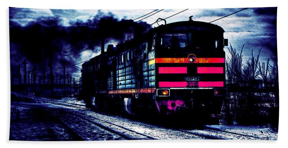 Locomotive - Railroad Train - Smoke - Wagons - Rails - Iron - Steel - Decoration - Railway - Machine - -veiculo Engine - Transport - Travel Hand Towel featuring the digital art Express Night by Lyriel Lyra