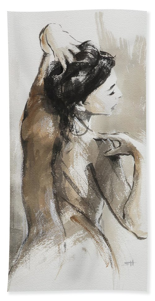 Woman Hand Towel featuring the painting Expression by Steve Henderson
