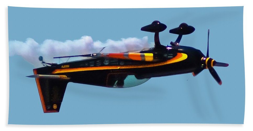 300s Bath Towel featuring the digital art Extra 300s Stunt Plane by DigiArt Diaries by Vicky B Fuller