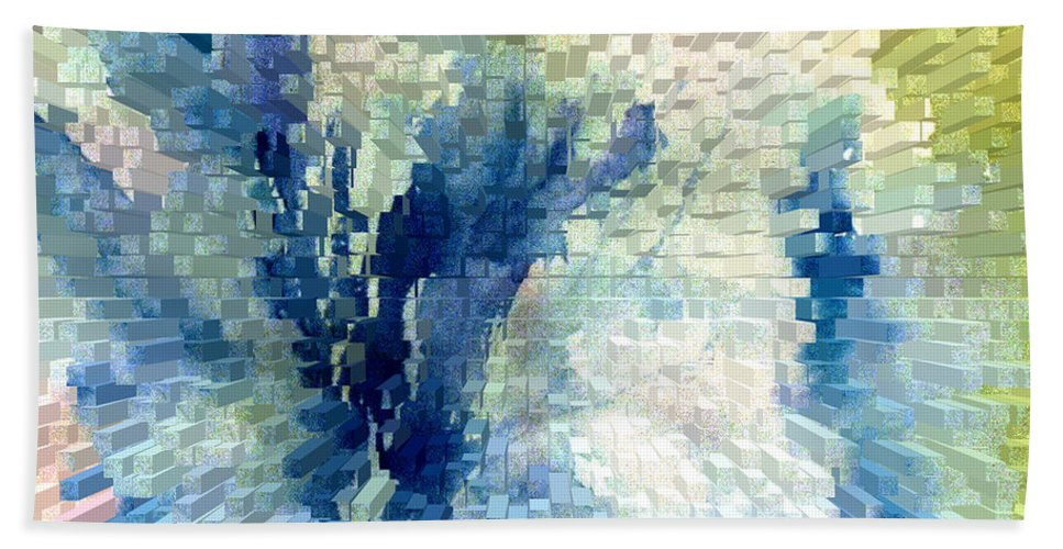Abstract Hand Towel featuring the painting Extrude by Steve Karol