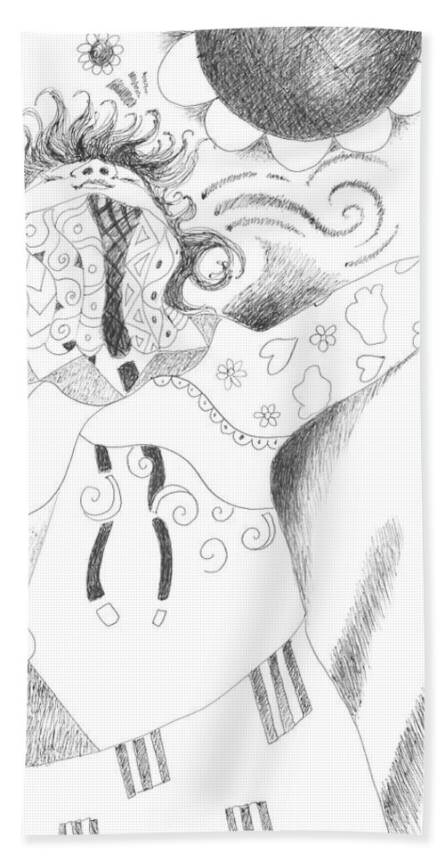 Spirited Hand Towel featuring the drawing Exuberance by Helena Tiainen