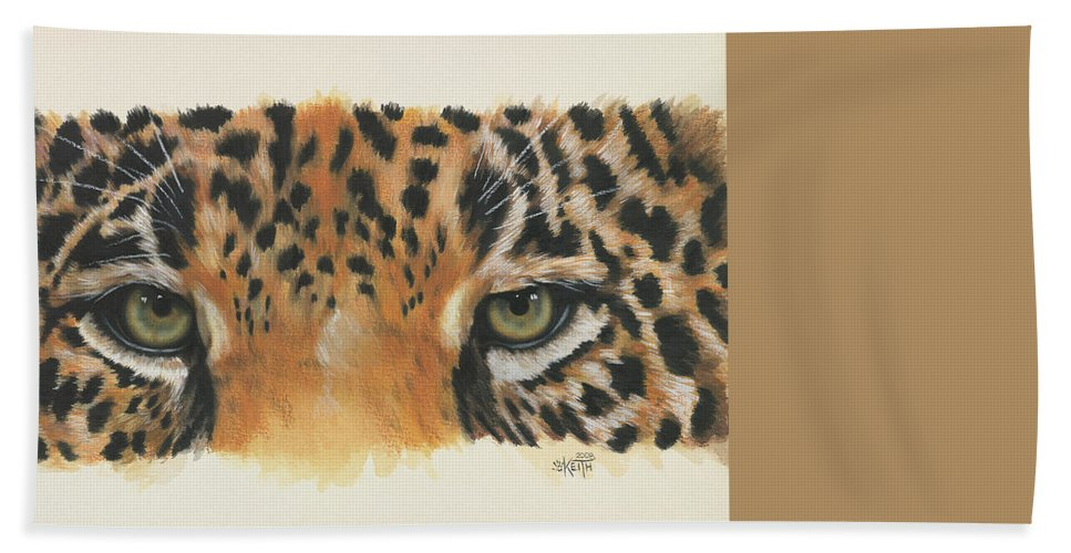 Jaguar Hand Towel featuring the painting Eye-catching Jaguar by Barbara Keith
