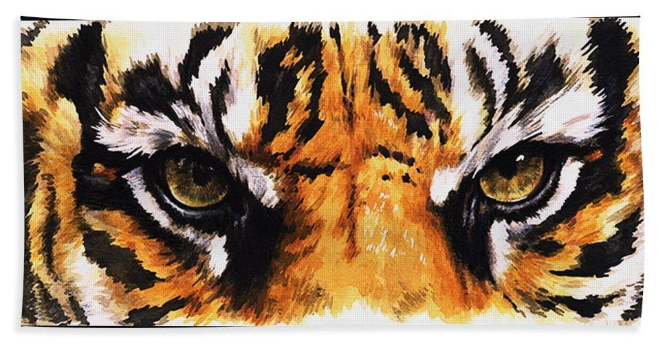 Feline Bath Towel featuring the mixed media Sumatran Tiger Glare by Barbara Keith