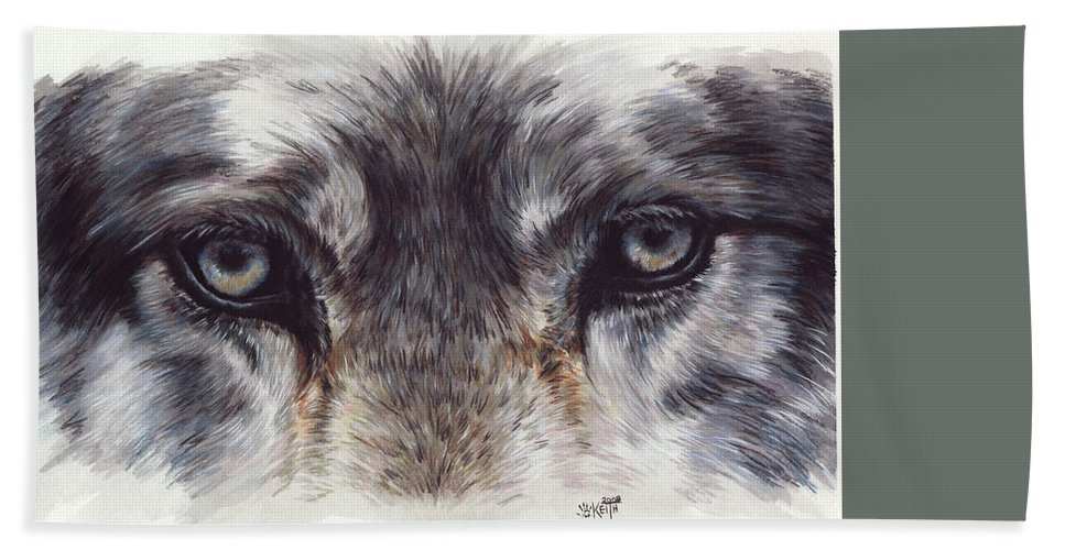 Wolf Bath Sheet featuring the painting Eye-catching Wolf by Barbara Keith