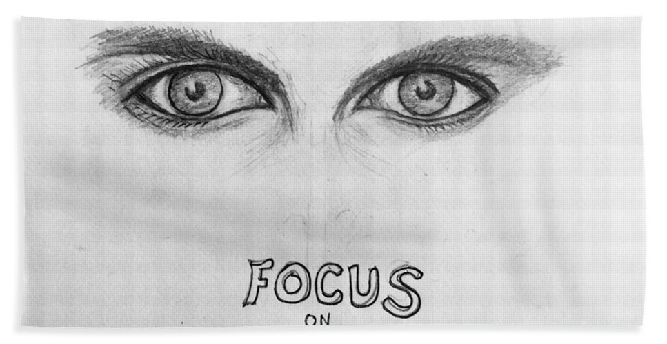 Eyedrawing Bath Towel featuring the drawing Focus On The Good 4 by Paul Carter