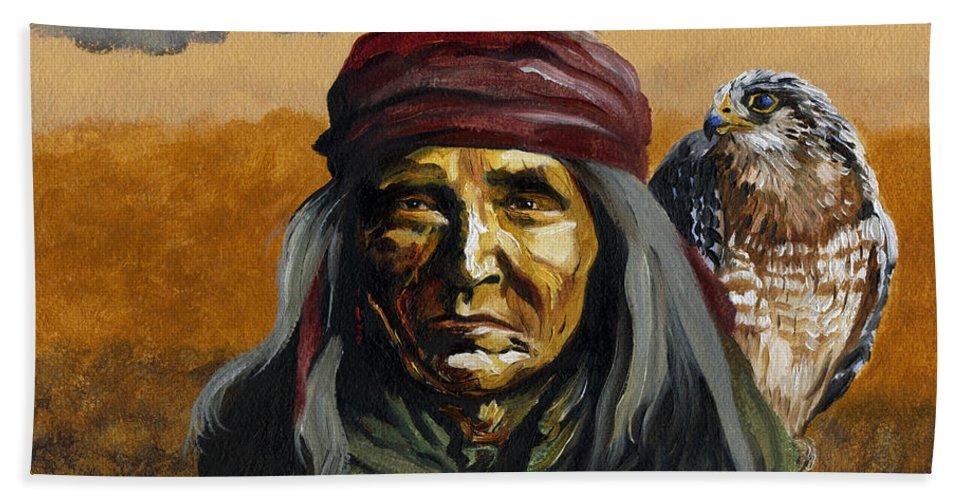 Hawk Bath Towel featuring the painting Eye In The Sky by J W Baker