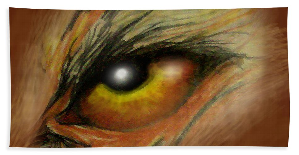 Eye Hand Towel featuring the painting Eye Of The Beast by Kevin Middleton