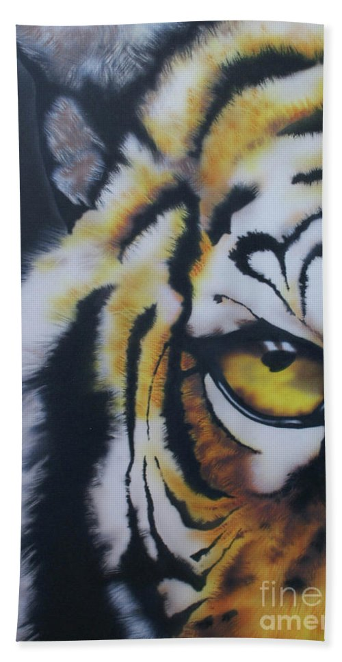 Tiger Bath Sheet featuring the painting Eye Of Tiger by Jamie Bishop