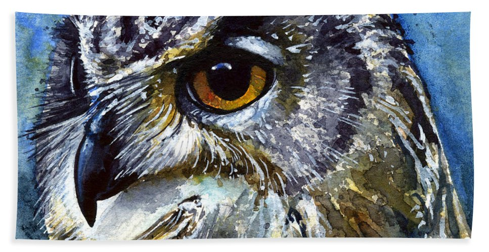 Owls Bath Sheet featuring the painting Eyes Of Owls No.25 by John D Benson