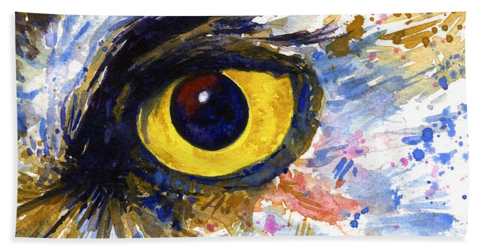 Owls Bath Towel featuring the painting Eyes Of Owl's No.6 by John D Benson