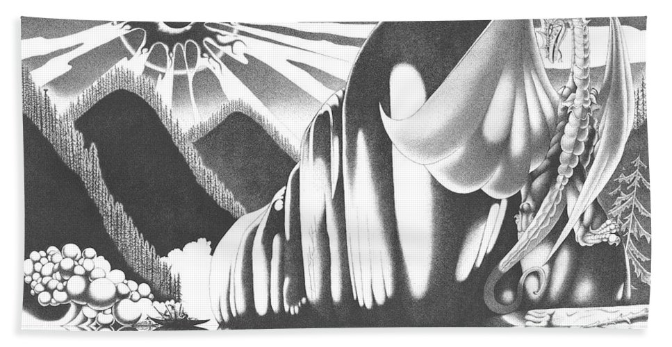 Stippling Bath Sheet featuring the drawing Eyes Of The Beholder by Devaron Jeffery