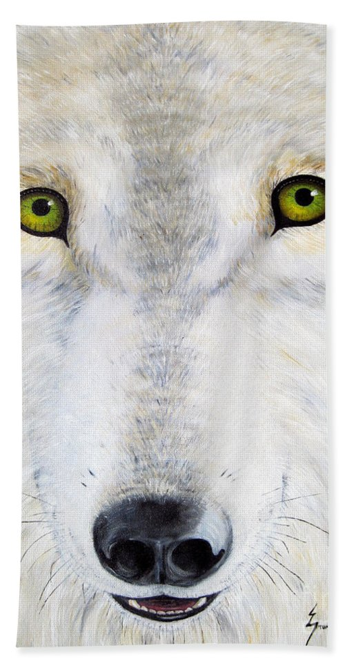 Wolf Bath Towel featuring the painting Eyes Of The Wolf by Jerome Stumphauzer