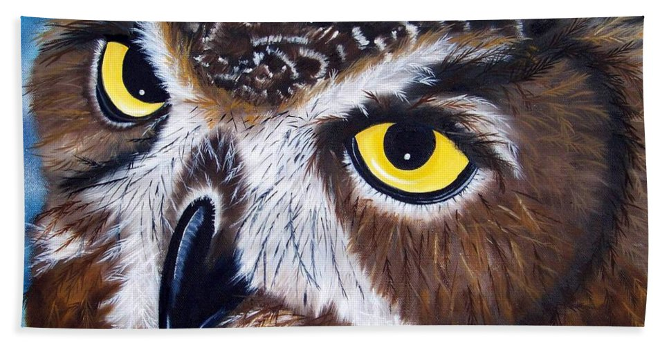 Owl Hand Towel featuring the painting Eyes Of Wisdom by Debbie LaFrance