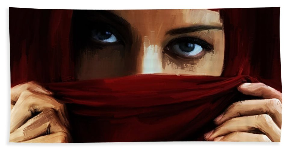 Dance Hand Towel featuring the painting Eyes On You 01 by Gull G