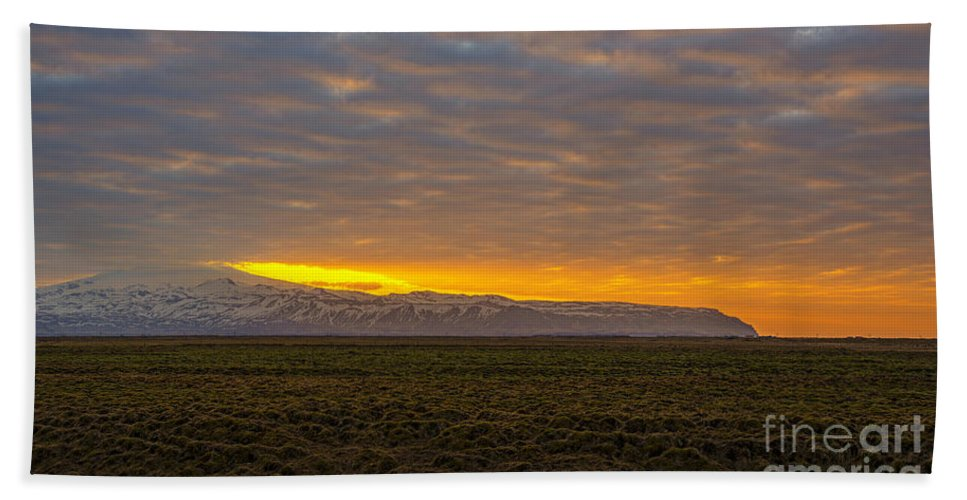 Eyjafjallajokull Hand Towel featuring the photograph Eyjafjallajokull Sunrise Iceland by Chris Thaxter