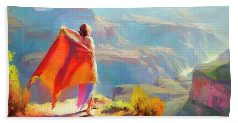Woman Bath Towel featuring the painting Eyrie by Steve Henderson